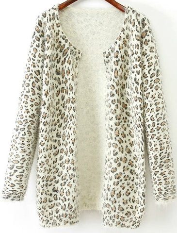 White Long Sleeve Leopard Shaggy Cardigan