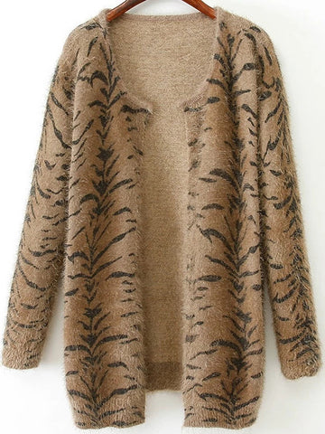 Khaki Long Sleeve Tigrina Shaggy Cardigan