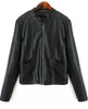 Black Long Sleeve Pockets PU Leather Jacket