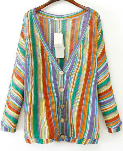 Purple V Neck Batwing Long Sleeve Striped Cardigan