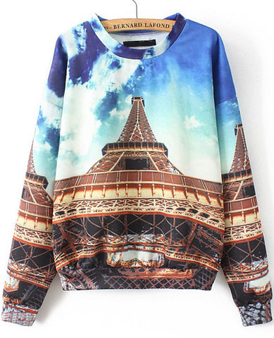 Blue Long Sleeve Eiffel Tower Print Sweatshirt