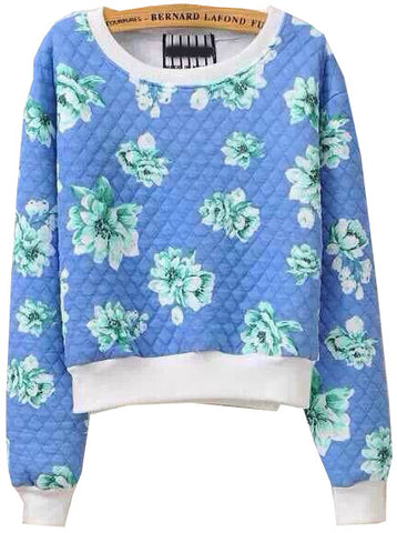 Blue Long Sleeve Floral Crop Sweatshirt