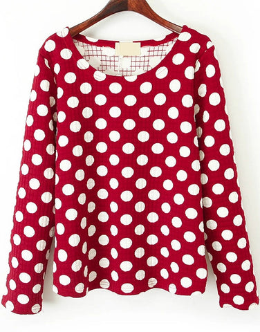 Red Long Sleeve Polka Dot Loose Sweatshirt