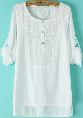 White Long Sleeve Lace Dipped Hem Blouse