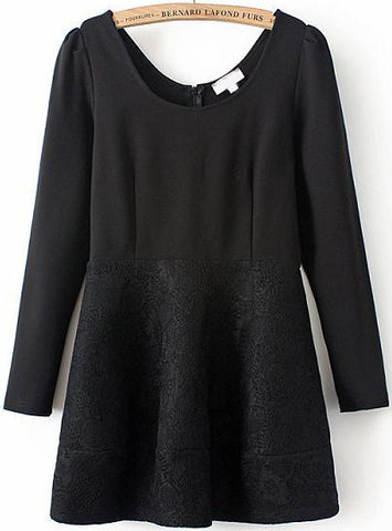 Black Long Sleeve Lace Jacquard Dress