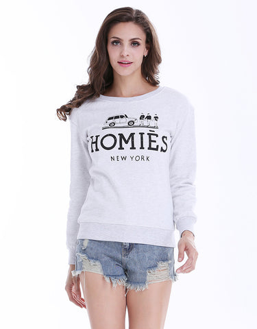 Grey Long Sleeve Letters Print Sweatshirt