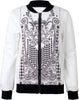 White Long Sleeve Floral Zipper Jacket
