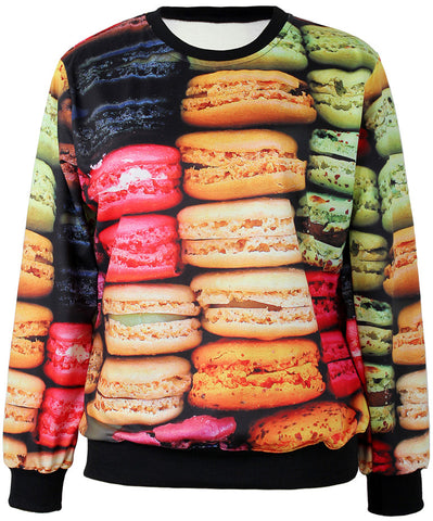 Multicolor Long Sleeve Macarons Print Sweatshirt