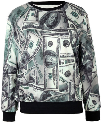 Grey Long Sleeve Dollar Bill Print Sweatshirt