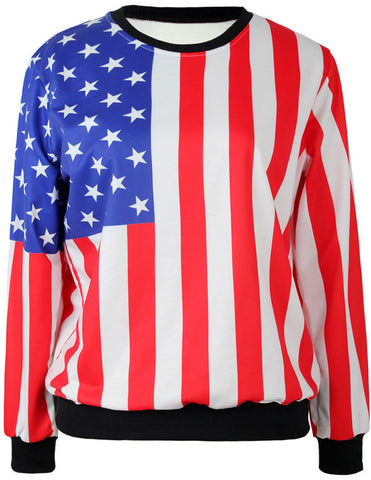 Red White Vertical Stripe Stars Print Sweatshirt