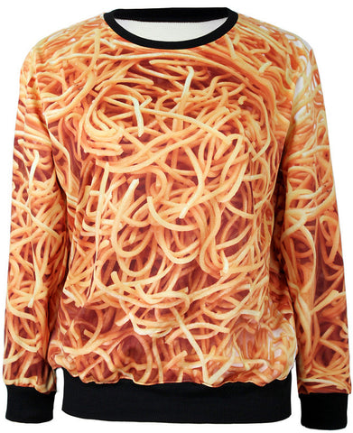 Apricot Long Sleeve Noodles Print Sweatshirt