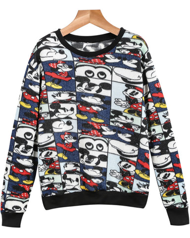 Blue Long Sleeve Mickey Print Sweatshirt