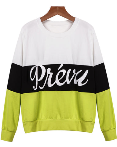White Green Long Sleeve Letters Print Loose Sweatshirt