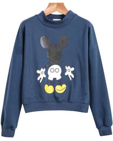 Blue Stand Collar Mickey Print Sweatshirt