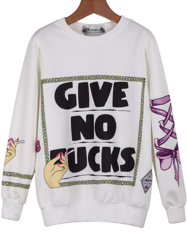 White Long Sleeve Cartoon Letters Print Sweatshirt
