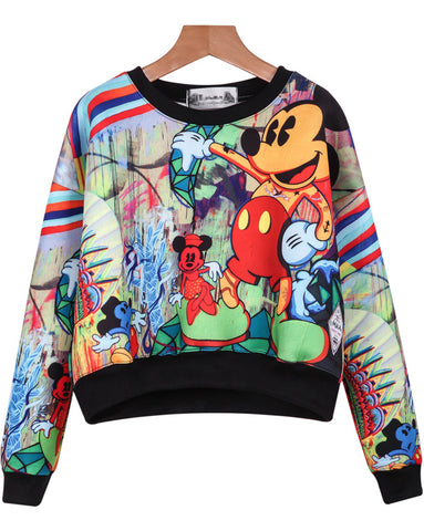 Multicolor Long SleeveMickey Print Crop Sweatshirt