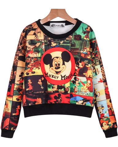 Yellow Long Sleeve Mickey Print Crop Sweatshirt