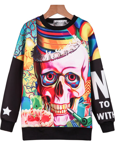 Multicolor Long Sleeve Letters Skull Print Sweatshirt