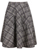 Grey Pockets Plaid Skirt