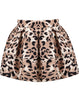 Khaki Leopard Flare Mini Skirt