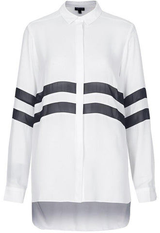 White Lapel Long Sleeve Striped Loose Blouse