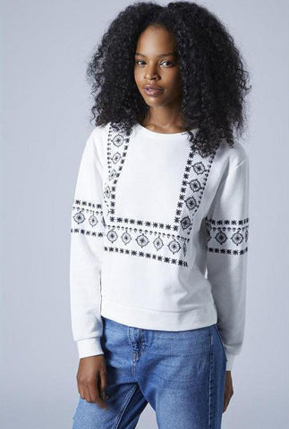 White Long Sleeve Embroidered Loose Sweatshirt