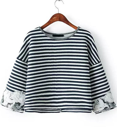 Black Round Neck Striped Embroidered Sweatshirt
