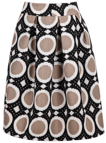 Brown Polka Dot Flare Skirt