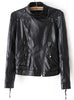 Black Long Sleeve Crop PU Leather Jacket