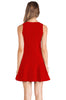 Red V Neck Sleeveless Ruffle Slim Dress