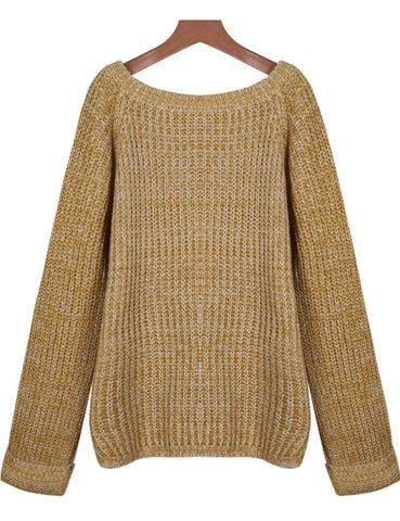Yellow Round Neck Long Sleeve Loose Sweater