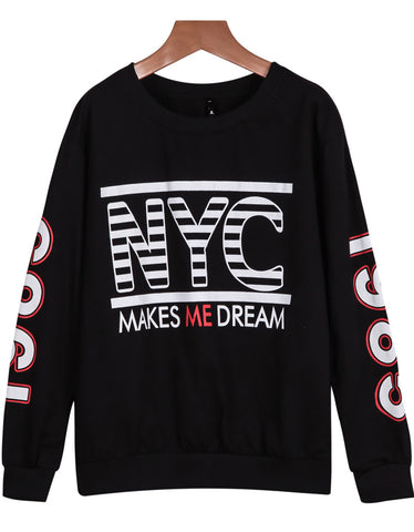 Black Long Sleeve NYC Print Loose Sweatshirt