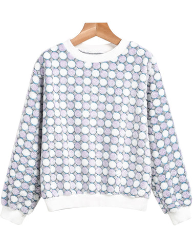 Purple Long Sleeve Polka Dot Plush Sweatshirt