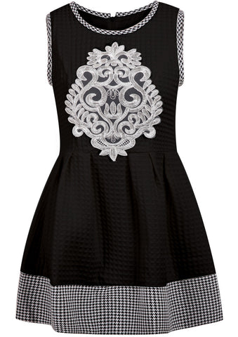 Black Sleeveless Houndstooth Embroidered Dress