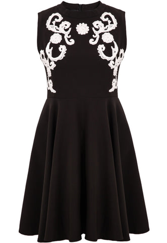 Black Sleeveless Embroidered Pleated Dress