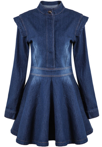 Blue Long Sleeve Bleached Pleated Denim Dress