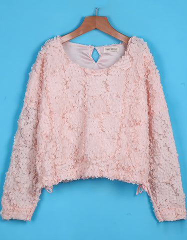 Pink Long Sleeve Flowers Embellished Crop Top