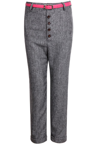 Grey Buttons Pockets Suit Pant