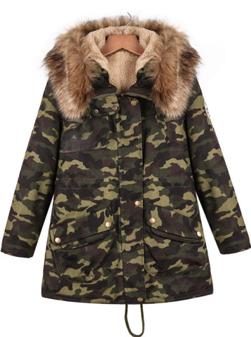 Green Hooded Long Sleeve Camouflage Pockets Coat