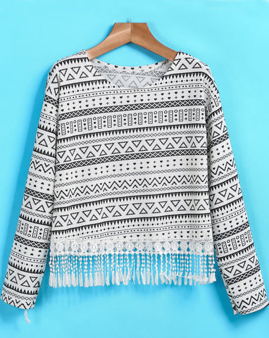 White Long Sleeve Geometric Print Tassel T-Shirt