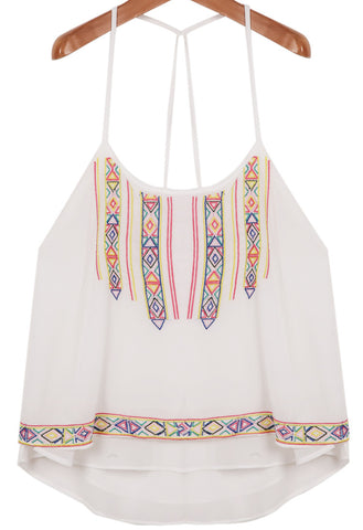 White Spaghetti Strap Hollow Embroidered Chiffon Vest