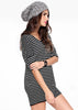 Black White Striped Half Sleeve Casual Dress