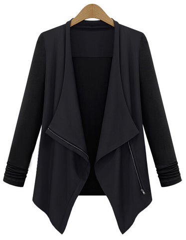 Black Long Sleeve Lapel Zipper Outerwear