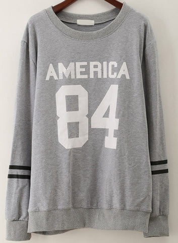Grey Long Sleeve AMERCA 84 Print Loose Sweatshirt