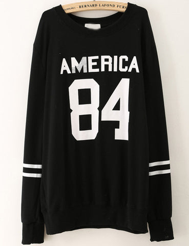 Black Long Sleeve AMERCA 84 Print Loose Sweatshirt