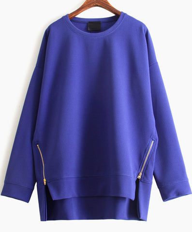 Blue Long Sleeve Zipper Dipped Hem Sweatshirt