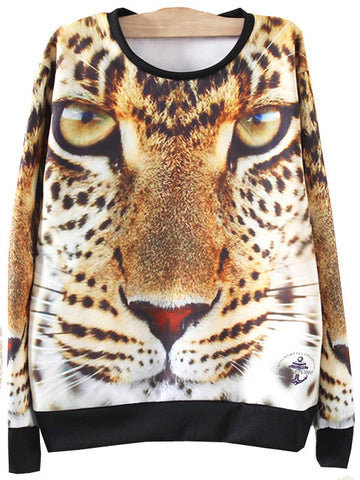 Yellow Long Sleeve Tiger Print Loose Sweatshirt