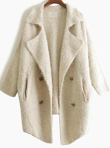 Apricot Lapel Long Sleeve Vintage Loose Cardigan