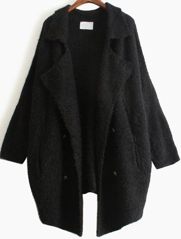 Black Lapel Long Sleeve Vintage Loose Cardigan