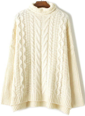Apricot High Neck Long Sleeve Cable Knit Sweater